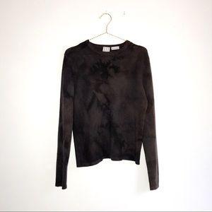 TSE 100% Cashmere Brown Tie-Dye Crewneck Sweater